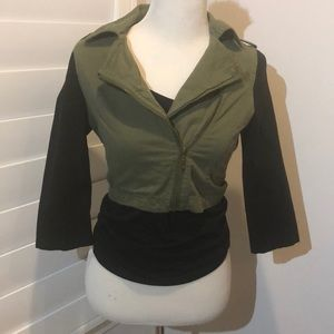 Army Green Cropped Jacket